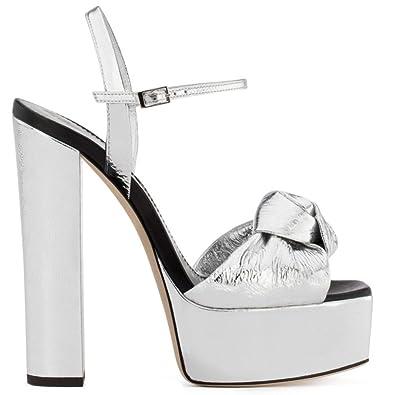 243718fedc4690 Femmes Peep Toe Talons Hauts Stiletto Platform Dames Sandales Block Pompes  Fête De Mariage,Silver