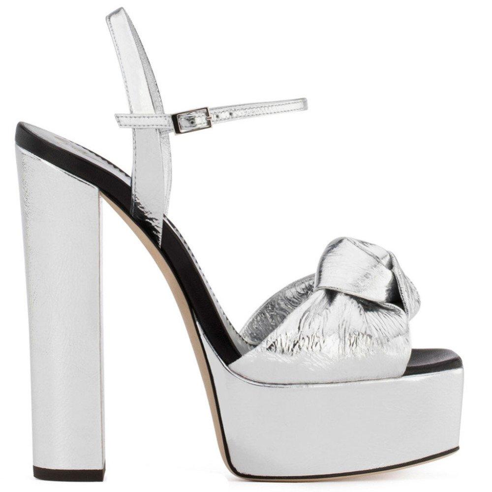Damen Peep Toe High Heels Stiletto Sandalen Plattform Damen Sandalen Stiletto Block Pumps Hochzeit Silver 398558