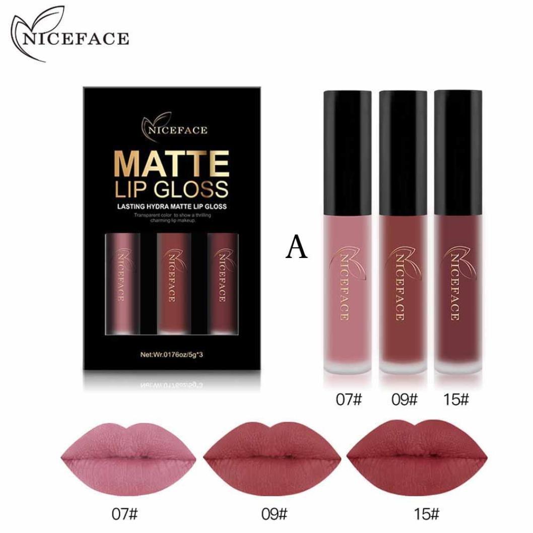 Rossetto, lucidalabbra,BBsmile 3PCS New Fashion Waterproof Matte Liquid Lipstick Cosmetici Lip Gloss Set 3 colori Lip Gloss Set (C)