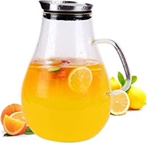 2.5 Liter Glass Pitcher with Lid, 3/5 Gallon Ice Tea Pitchers, 2.6 Quart Glass Water Jug/Carafe with Handle for Boiling Liquid, Hot/Cold Tea, Juice