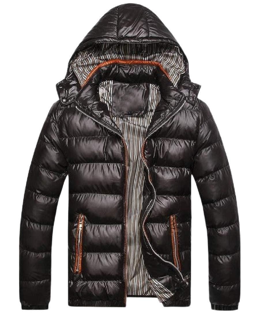 YUNY Mens Hood Thicken Slim-Fit Vogue Brumal Solid Zipper Parka Jacket Black 2XL