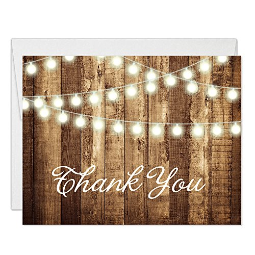 - Rustic Thank You Cards with Envelopes (Pack of 50) Strings of Lights Folded Thank You Notes Excellent Value Thank You Notecards VT0007