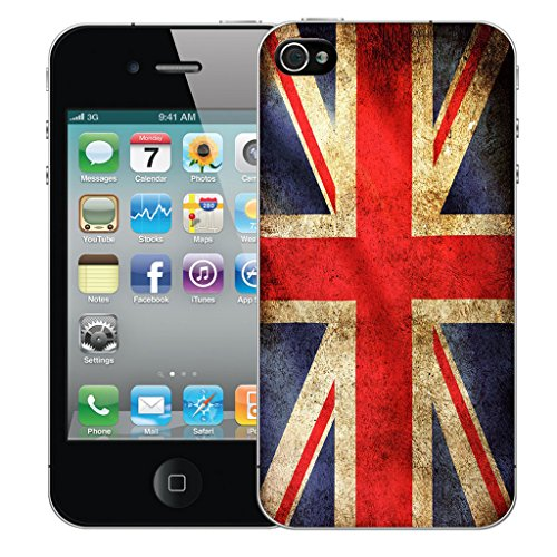 Mobile Case Mate iPhone 4s Silicone Coque couverture case cover Pare-chocs + STYLET - Union Jack pattern (SILICON)