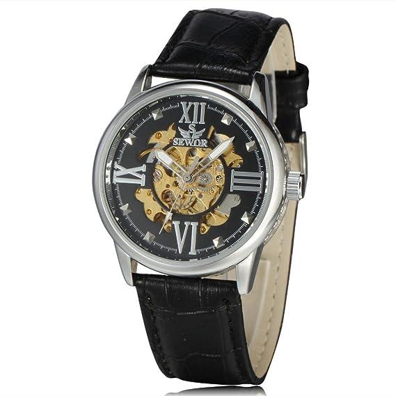 SEWOR oro esqueleto mecánico automático reloj para hombre relojes primera marca reloj de lujo piel negocios reloj Relogio Masculino: Amazon.es: Relojes