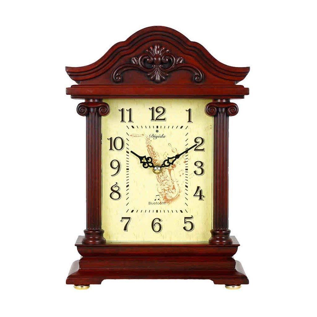 デスククロックファミリークロックアメリカンアンティークマントラ置時計bluetooth毎時チャイムデスク装飾時計リビングルームの寝室に最適オフィス(色:マホガニー色) B07THWXWZ1 Mahogany Color