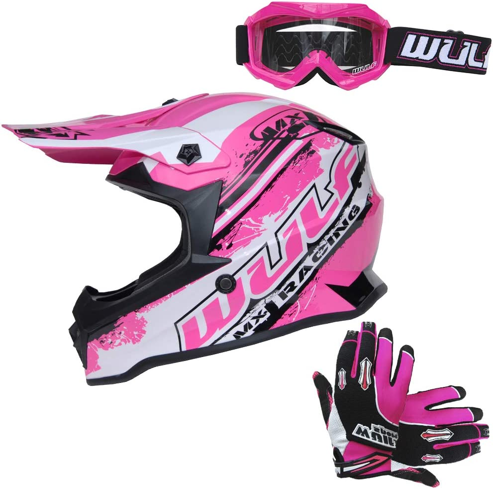 Wulfsport Black Cub Off Road Pro Kids Motocross Helmet XL Cub Goggles Stratos Gloves XS
