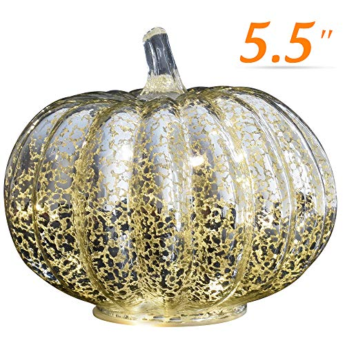 - JARVANIA Halloween Pumpkin Lantern Light, Jack o Lantern Decorative Pumpkins Mercury Glass Decor Fall Decorations Led Timer Candles Battery Operated (Silver, Medium)