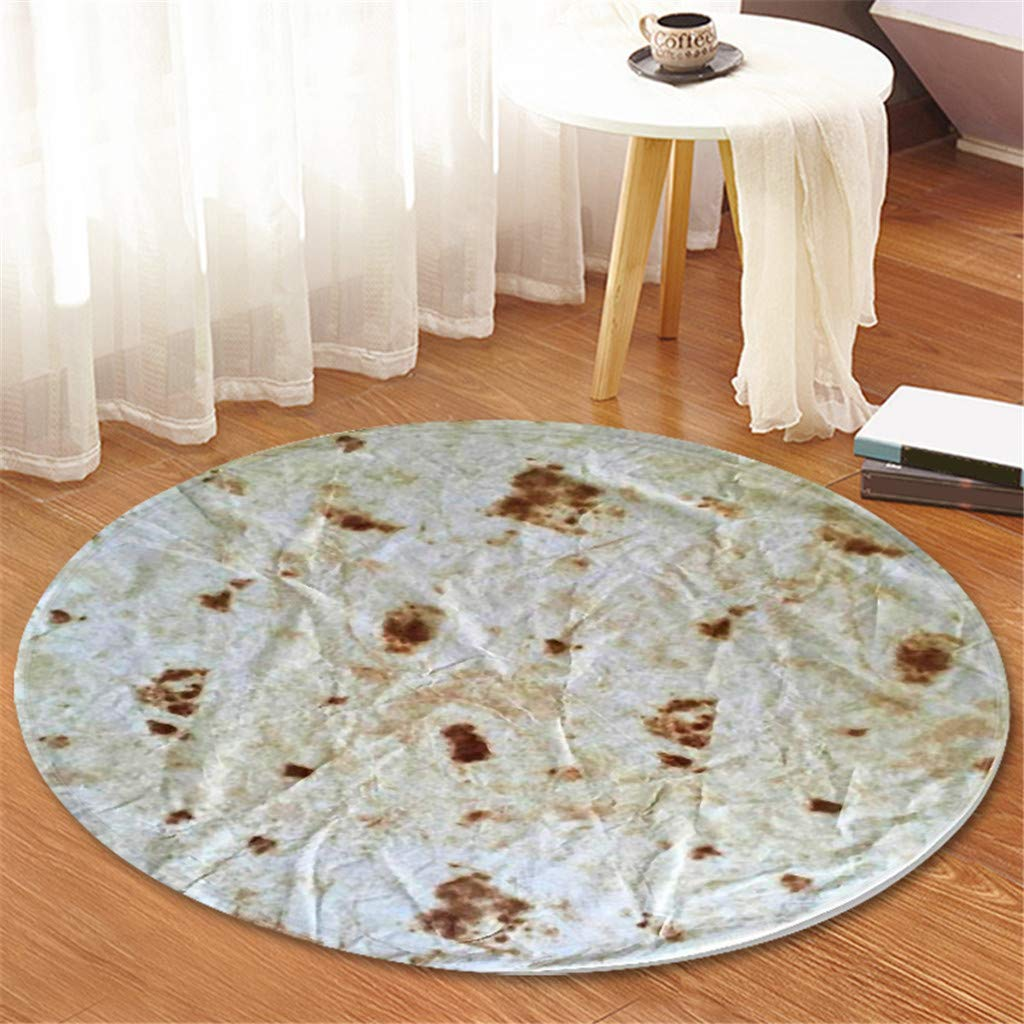 Comfort Food Creations Burrito Wrap Novelty Blanket - Perfectly Round Bathroom Tortilla Carpet 120cm (A) by Sunshinehomely (Image #2)