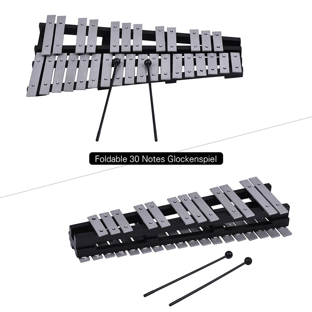 A Gracorgzjs 30 Note Foldable Glockenspiel Xylophone Percussion Musical Instrument Kids Toy  Black+Sliver