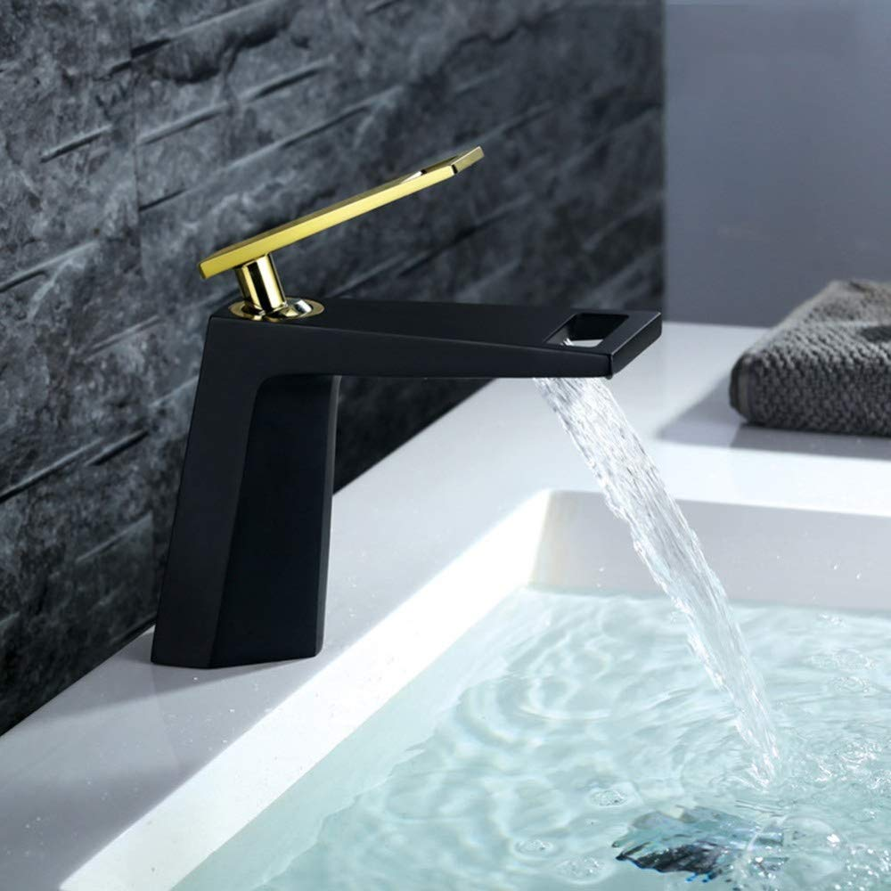 360° redating Faucet Retro Faucetbathroom Vessel Basin Sink Faucet Hot and Cold Basin Faucet Black Paint Basin Faucet Basin Tap