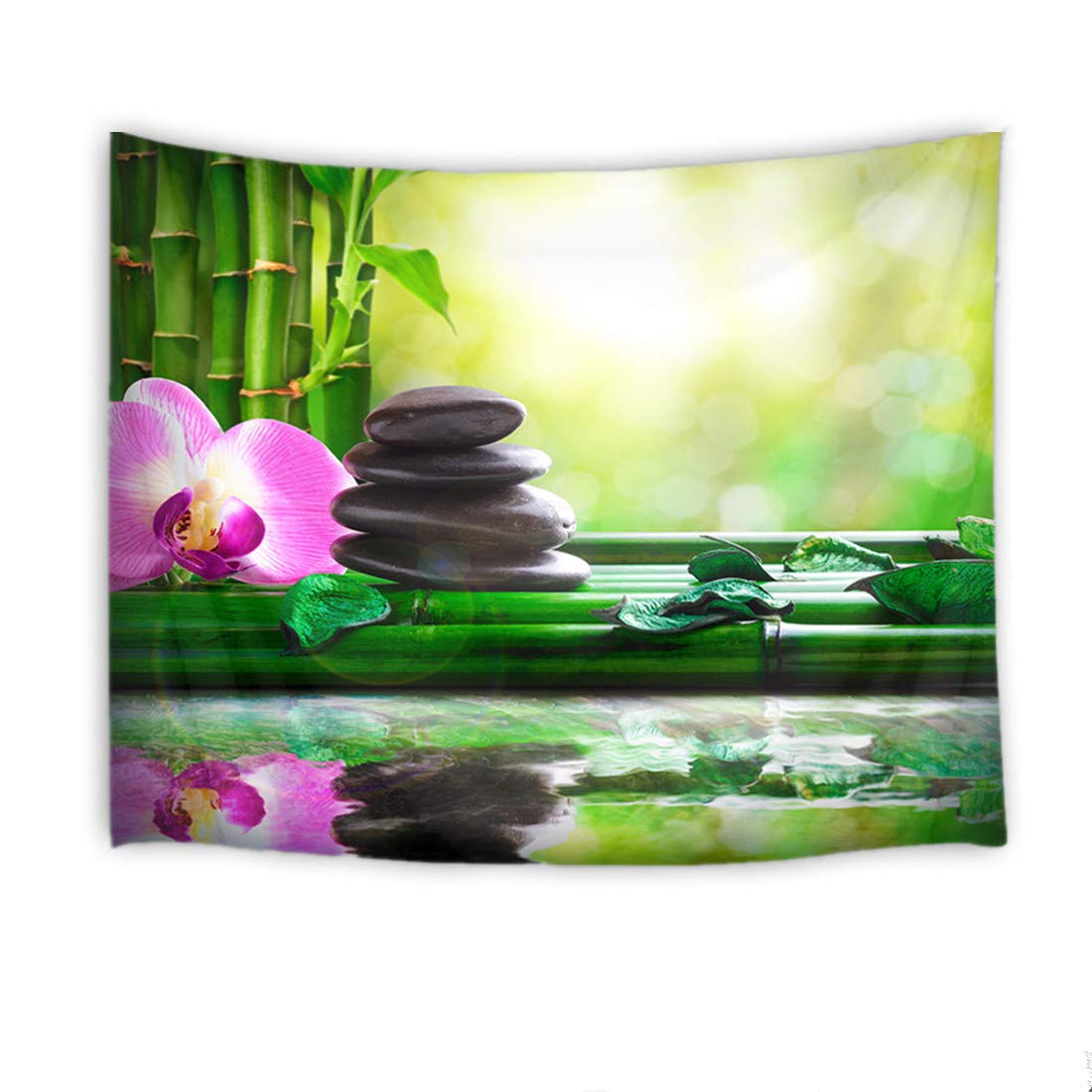 HVEST Zen Spa Tapestry,Orchid Tapestry Wall Hanging,Flowers and Massage Stones on Green Bamboo Stems Wall Blanket for Bedroom,Living Room,Dorm Decor,80 W X 60 H inch