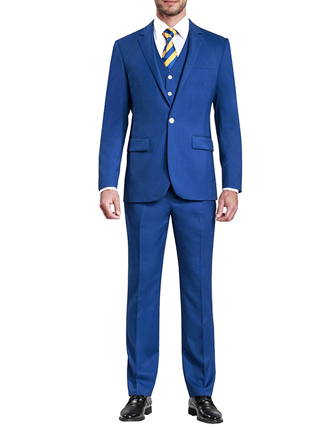HBDesign Mens 3 Piece 1 Button Notch Lapel Slim Fit Pure Formal Suit Blue HMS5002BL