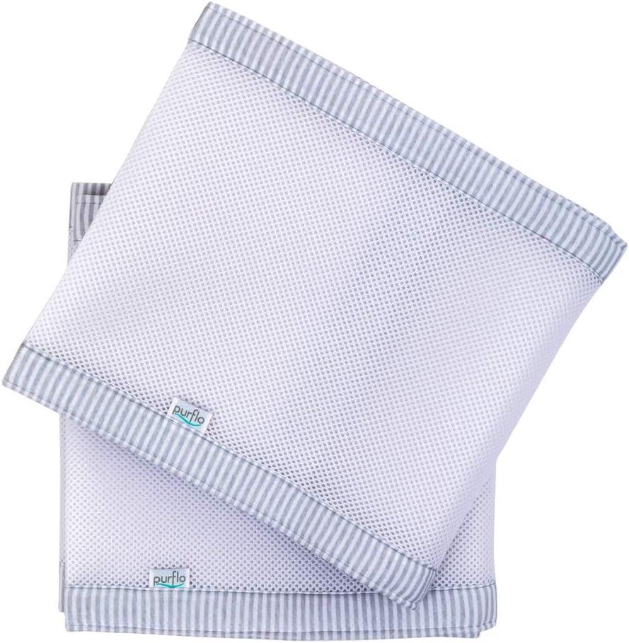 Unisex Couleur: Blanc /& Gris//Grey /& White Stripe Respirant Tour de Berceau Perm/éable /à lAir PurFlo PurAir