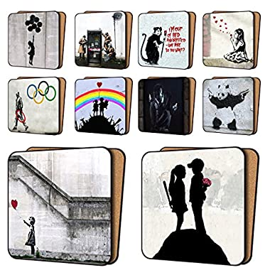 Banksy Coasters Mix1 - 10 New, Balloon Girl Hope, AYNIL All You Need Is Love & More - Dinnerware Coaster Sets 11cm x 11cm
