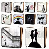 Kitchen Bar on Hope Street Banksy Coasters Mix1 - 10 New, Balloon Girl Hope, AYNIL All You Need Is Love & More - Dinnerware Coaster Sets 11cm x 11cm