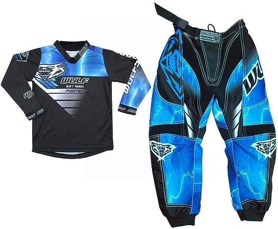 Wasit 22 /& Pants + Goggles 5-7 Yrs 51-52cm 7cm + Attack Gloves XS Kids Race Shirt Wulfsport 2020 Suit Off Road Pro Kids Motocross Helmet Blue L