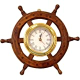 "Hampton Nautical  Deluxe Class Wood and Brass Ship Wheel Clock 12"" -  - Nautical Home Decorating"