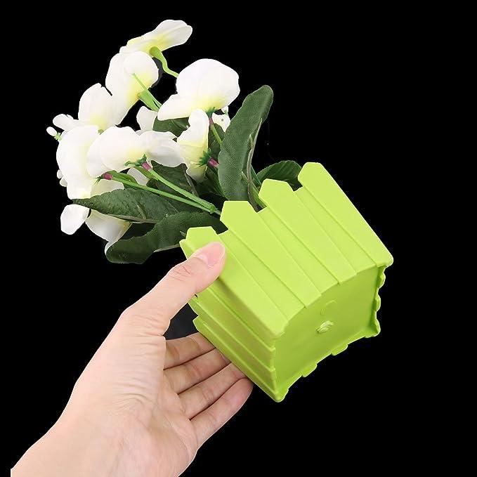 Amazon.com: eDealMax Habitación plástico maceta reunión de la oficina de escritorio Adorno de la Flor Artificial del ramo: Home & Kitchen