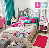 Paris Chic EIFFEL TOWER French,Teen Girls Comforter Set Twin
