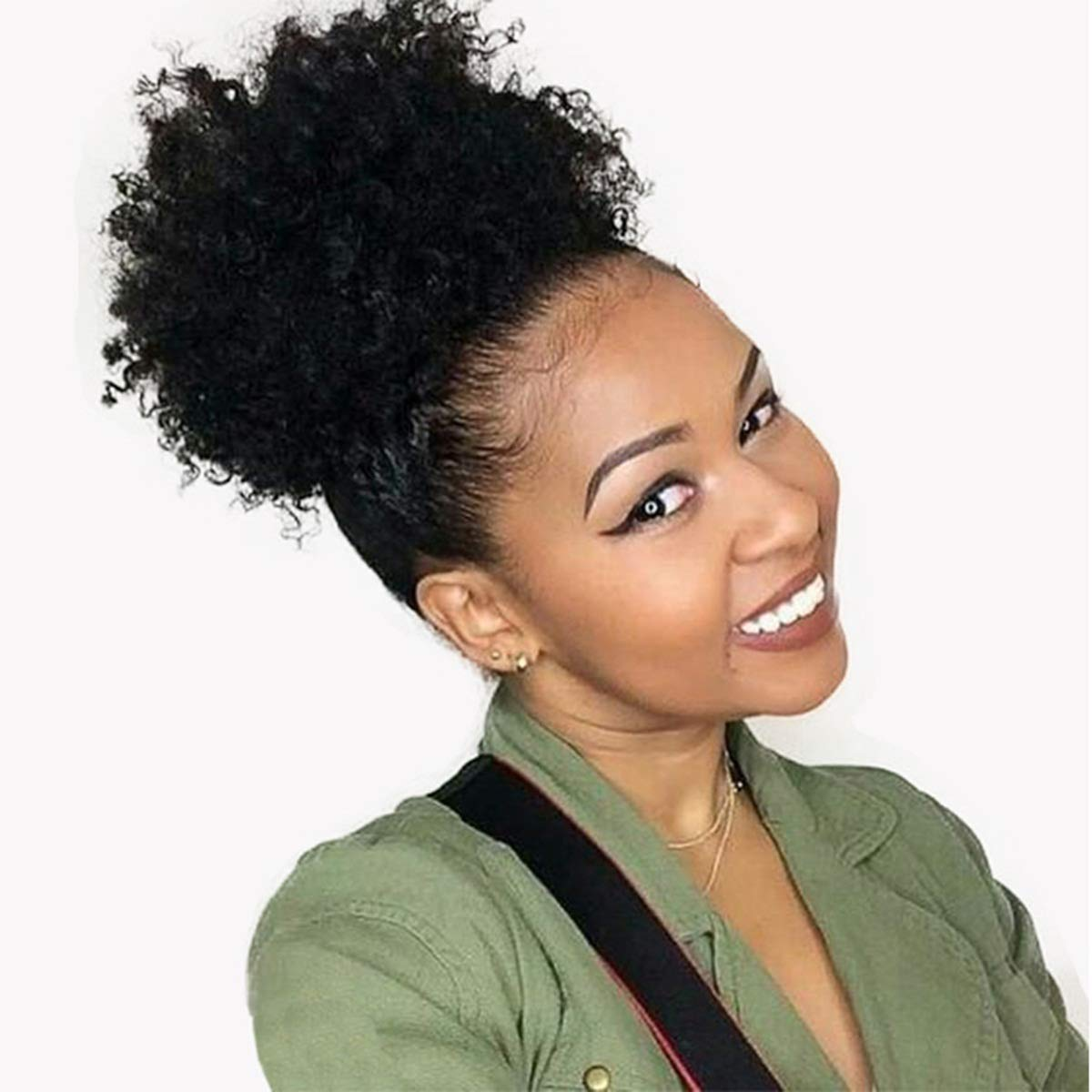 Amazon Com Afro Kinky Curly Clip In Ponytail Hair Extensions 4b 4c Human Hair For Black Women 8 Inches Clip In Top Closure Drawstring Ponytail Hair Piece Natural Color 90 Gram Beauty