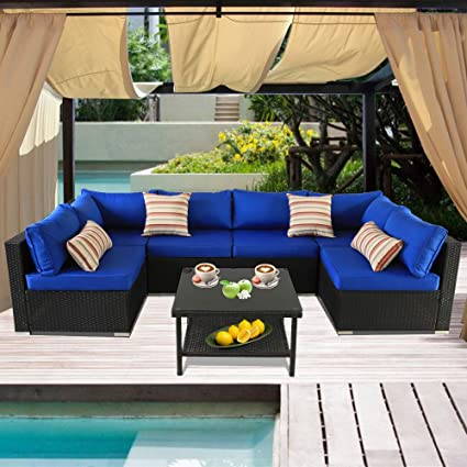 Strange Leaptime Patio Rattan Sofa 7 Piece Outdoor Wicker Furniture Outside Conversation Couch Deck Seating Black Rattan Royal Blue Cushion Ibusinesslaw Wood Chair Design Ideas Ibusinesslaworg