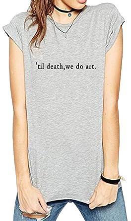 ea37b2ced7 BLACKOO Teen Girl Funny T Shirts Women Cute Tops Junior Graphic Tee Grey  Small