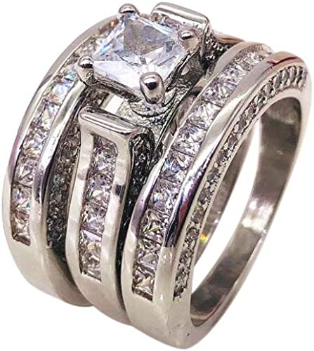 Clearance Women S 3 In 1 Vintage Engagement Rings Beautytop Diamond Rings Set For Women Fashion Simple Shiny Jewelry Lovers Ring Women Gift Sets Sale Silver L 1 2 Amazon Co Uk Jewellery
