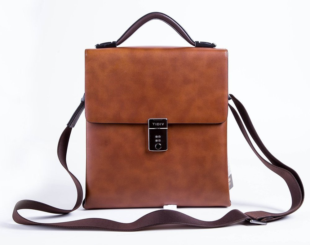 TIDIV Fashion Luxurious Genuine Cow Leather Men's Coded Lock Briefcase Detachable Strap Handbag