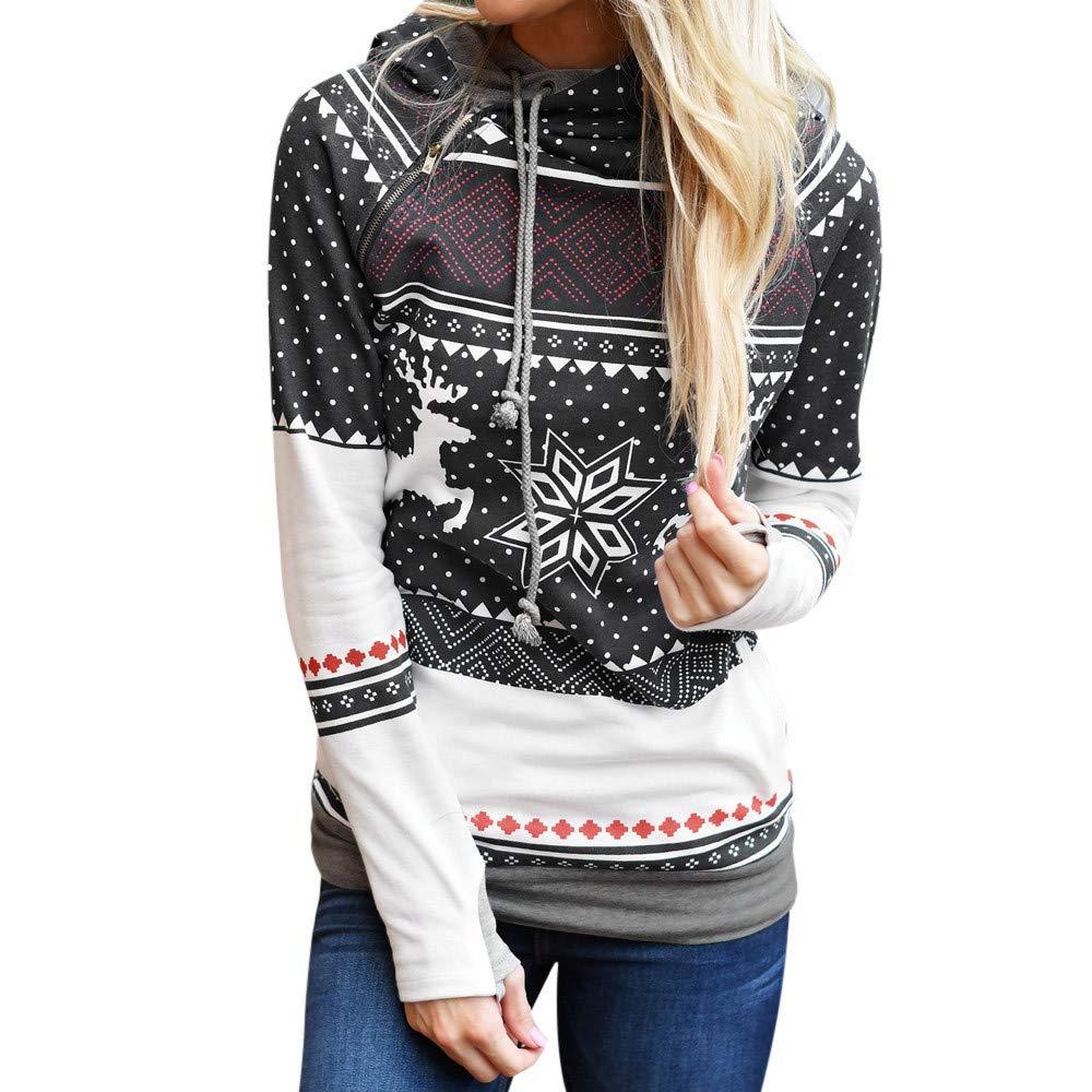 XILALU Women Christmas Zipper Christmas Wapiti Dots Print Tops Hoodie Sweatshirt Long Sleeve Casual Cotton Pullover Blouse