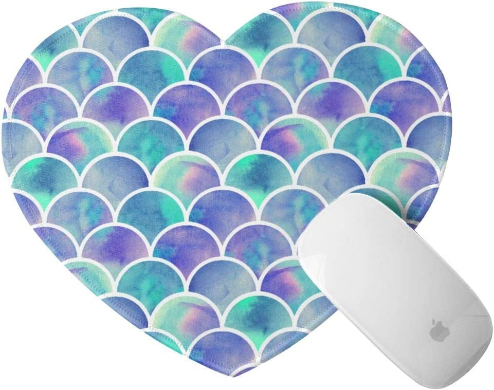 Mini Mouse Pad with Stitched Edge Heart Shape Mouse Mat Mermaid Tail Scales Fish Scale Pattern Non-Slip Rubber Base Mousepad for Laptop Computer & Pc Office Home 8x9.4 in