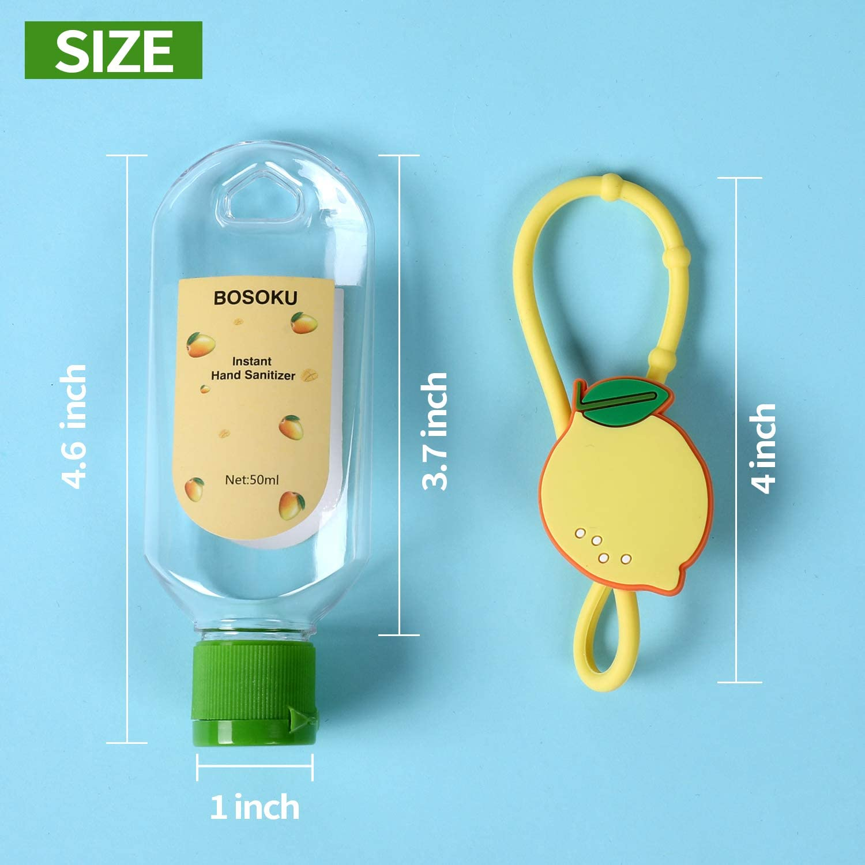 Botellas de viaje port/átil llavero titulares de frutas 50 ml contenedores vac/íos recargables perfectos para que los ni/ños lleven desinfectante de mano
