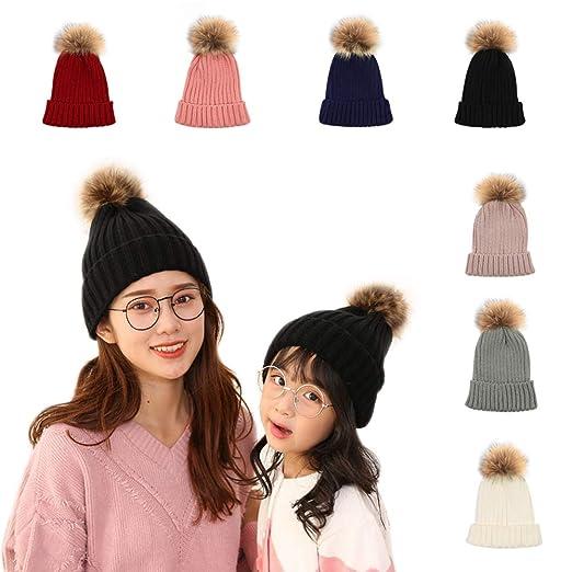Amazon.com  2 PCS Parent-Child Hat Warmer 159184576a3