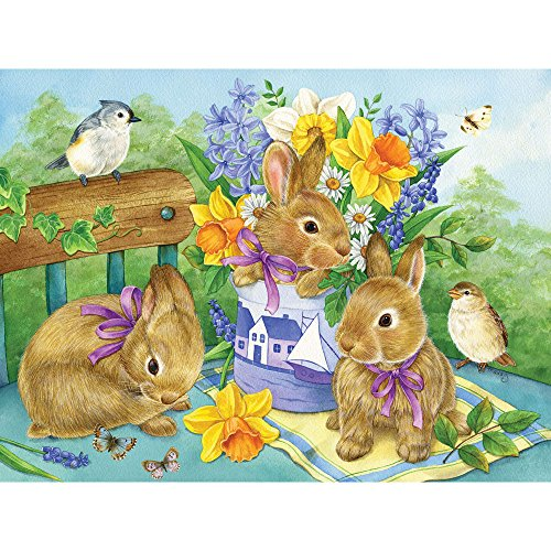 Bits and Pieces - 300 Large Piece Jigsaw Puzzle for Adults - Bunny Bouquet - by Artist Jane Maday - 300 pc Rabbit Jigsaw