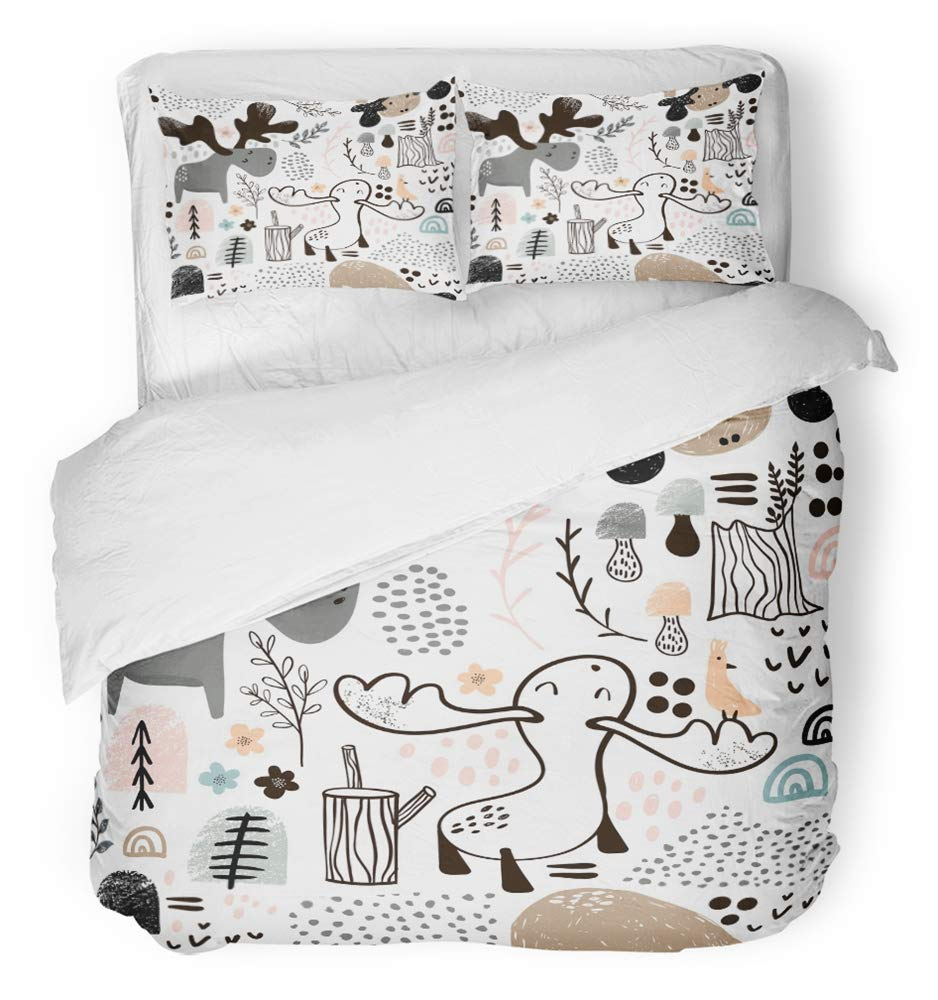 Emvency 3 Piece Duvet Cover Set Breathable Brushed Microfiber Fabric Gray Tree Childish with Elks in Wood and Abstract Shapes Scandinavian Perfect Bedding Set with 2 Pillow Covers Full/Queen Size
