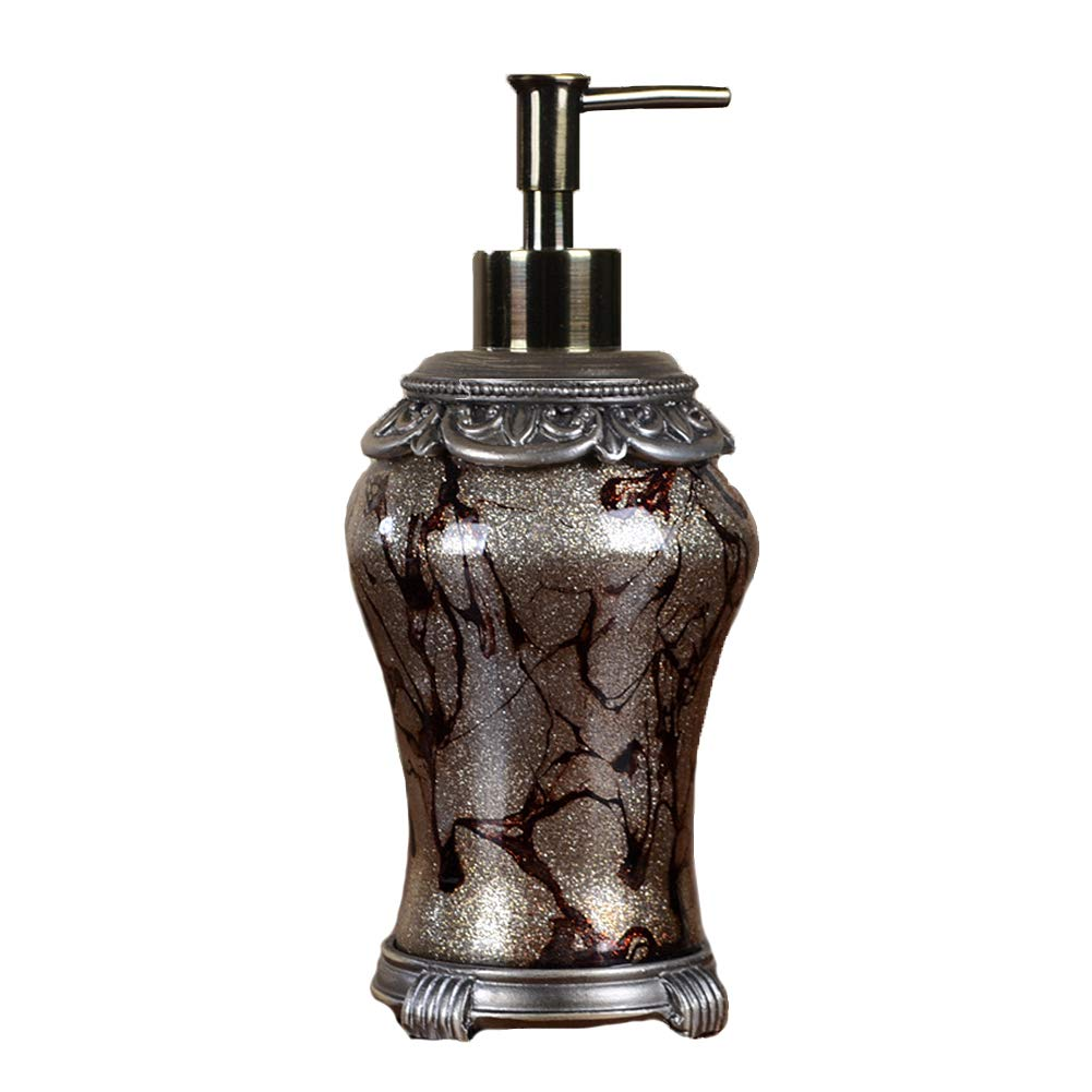 DGSFES 200ml Antique Style ABS Plastic Soap Dispenser with Stainless Steel Pump Refillable Wash Hand Soap, Ideal for Liquid Soaps, Essential Oils and Lotions-A