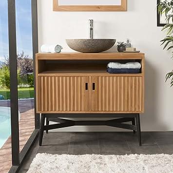 wanda collection Mueble de Teca para Cuarto de baño MYA 90 CM: Amazon.es: Hogar