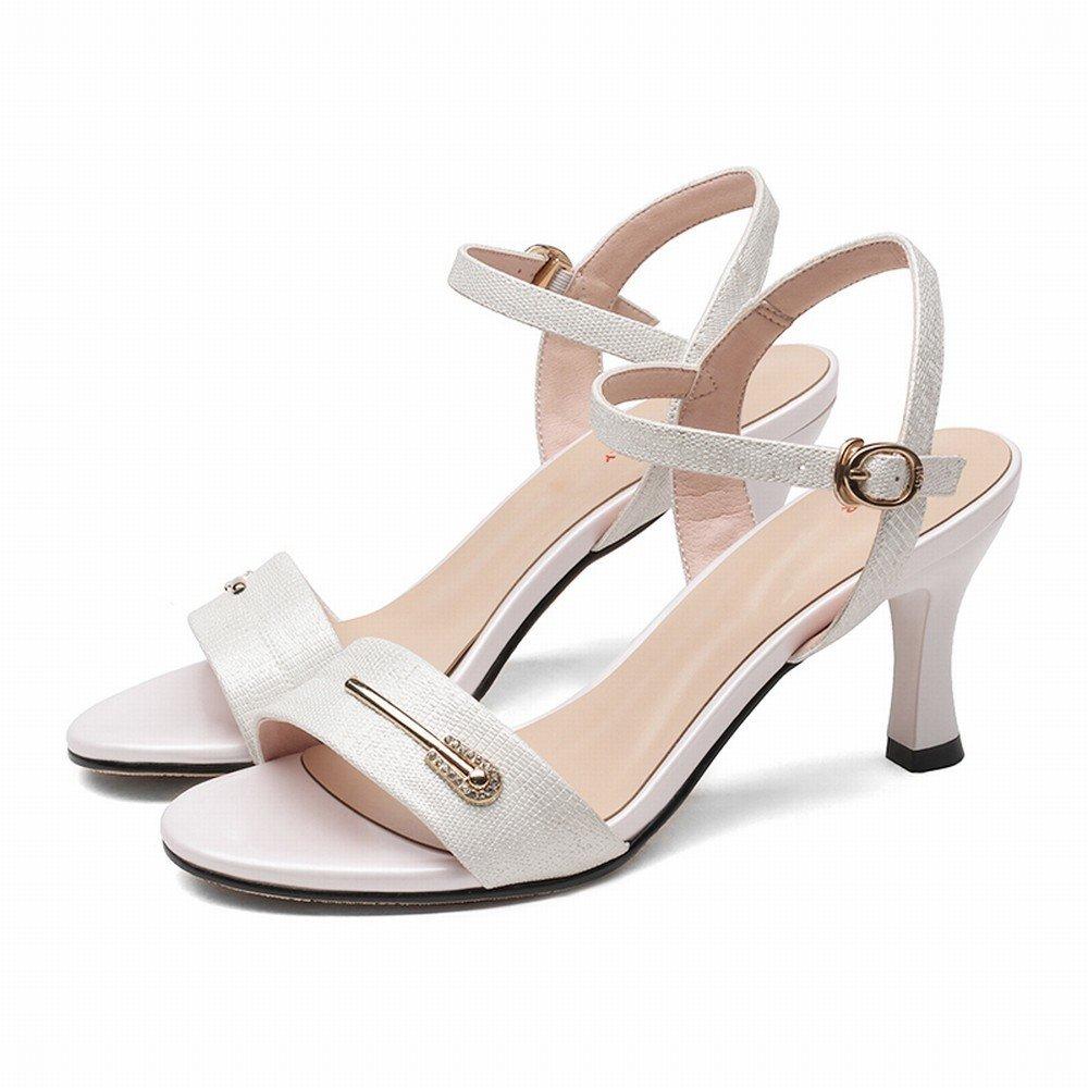 DIDIDD Woherren High Heels mit mit mit Schnalle Zehe Stilett Mode Frauen Sandalen Weiß 37 8abcc2