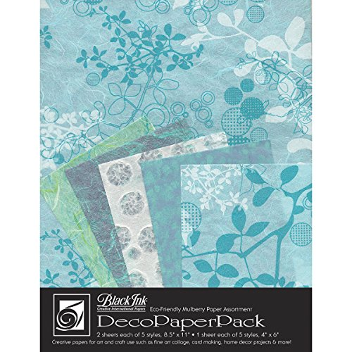Handmade Decorative Paper (Black Ink DP-703 Decorative Paper Pack, 8.5 by 11-Inch, Chinaberry Aqua)