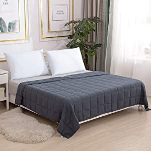"""Smart Queen Weighted Blanket Adults (15 lbs, 60"""" x 80"""") Perfect for 130-170 lbs, Queen Size Heavy Blanket, Breathable Cotton with Natural Glass Beads"""