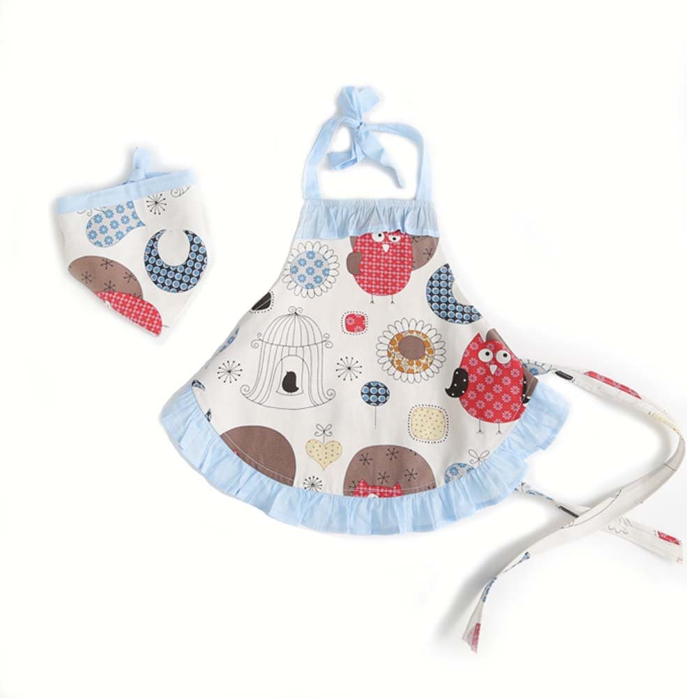 Childrens Bakeware Chef Owl Girls Toddler Kids Apron with Matching Cute Headscarf Outfit Set (4T to 5T (Blue Owl))