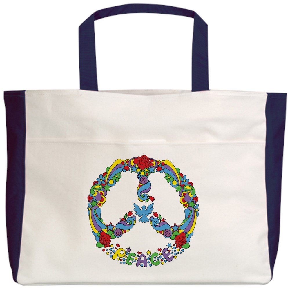 Royal Lion Beach Tote Pop Art Peace Symbol Flowers Stars 2-Sided