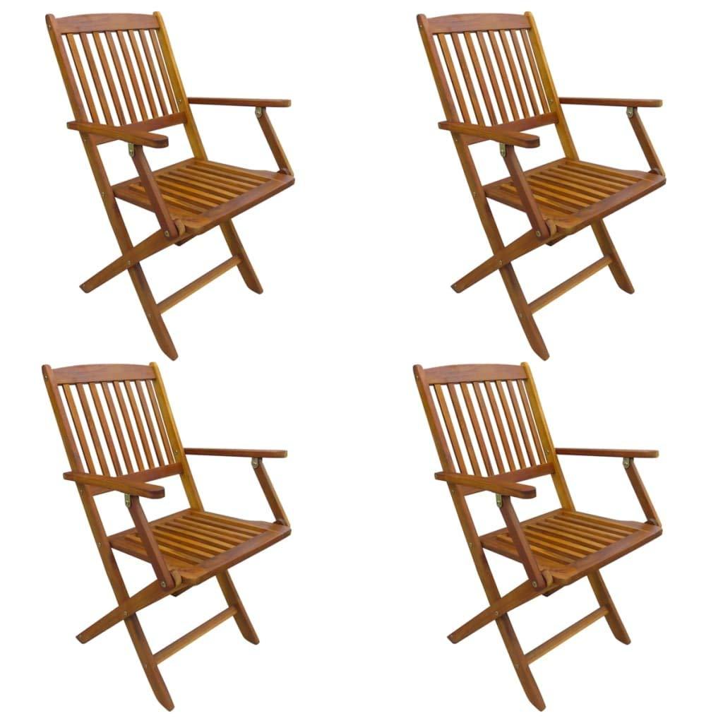 Tidyard Klappbare Gartenstühle 4 Stück,Klappstuhl Hochlehner Klappstühle Klappsessel Gartenmöbel für Balkon & Terrasse, zusammenklappbar,Massives Akazienholz