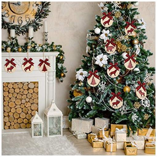 Christmas Farmhouse Home Decor Jetec Wooden Christmas Ornament Xmas Tree Hanging Tag Xmas Wooden Slice Round Ornament Slices Round Wood Pieces Hanging…