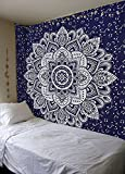 Popular Handicrafts Kp890 Passion Ombre Silver Tapestry Wall Hanging Indian Mandala Hippie Tapestries, Boho dorm Décor Tapestry, Bohemian Bedspread 84 x 54 Inches Blue
