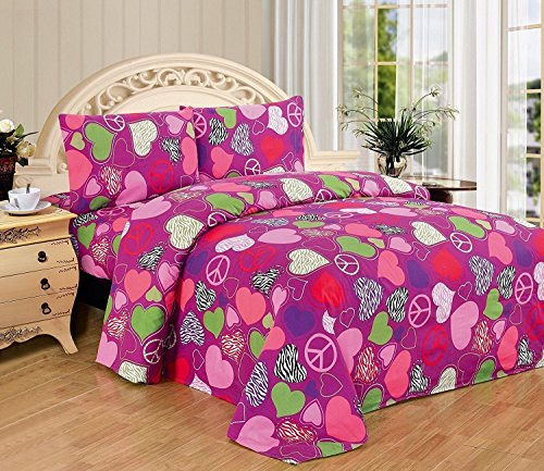 Mk Collection 3pc Twin Sheet Set Hearts Peace Signs Zebra Hot Pink Purple Green White Black Red Light Pink (Pink Peace Signs Hearts)