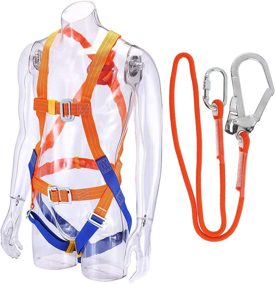 5m,Big Buckle Sanmum Full Body Safety Harness Fall Arrest Harness 5-Point Adjustable Climbing Harness Universal Personal Protective Equipment for Working Roofing Climbing