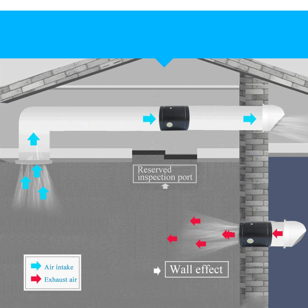 4 inch Abluftventilator Booster Abluftgebl/äse Abluftventilator Vent Gebl/äse f/ür Home Indoor