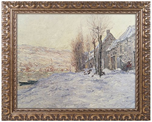 (Lavacourt Under Snow 1878 Canvas Artwork by Claude Monet, 16 by 20-Inch, Gold Ornate Frame)