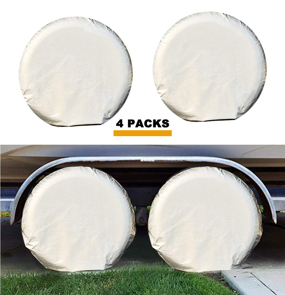 Kayme Four Layers Tire Covers Set of 4 for Rv Travel Trailer Camper Vinyl Wheel, Sun Rain Snow Protector, Waterproof, Fits 27-29 Inch Tire Diameter L