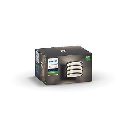 Philips Hue Lucca - Aplique LED color antracita para exterior (bombilla incluida), Iluminación inteligente, compatible con Amazon Alexa, Apple HomeKit ...